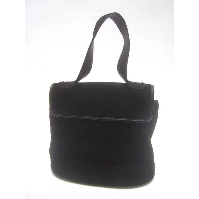 Yves Saint Laurent Chic Black Suede Ysl Embroidered Handbag C 1990s For Sale - Image 6 of 8