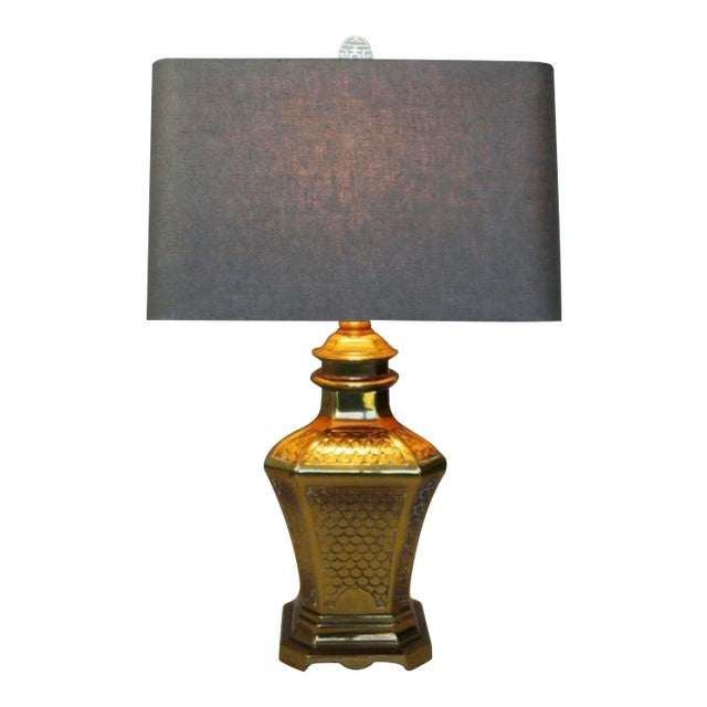 Brass Fish Scale Design Pagoda Lamp For Sale