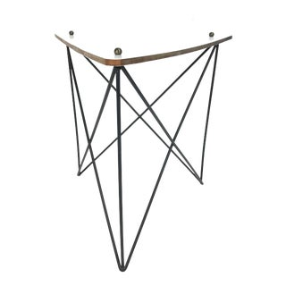 Mid Century Modern Metal Triangle Table For Sale