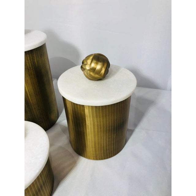 Kenneth Ludwig Chicago Brass Canisters With Marble Lids - Set of 3 For Sale - Image 4 of 9