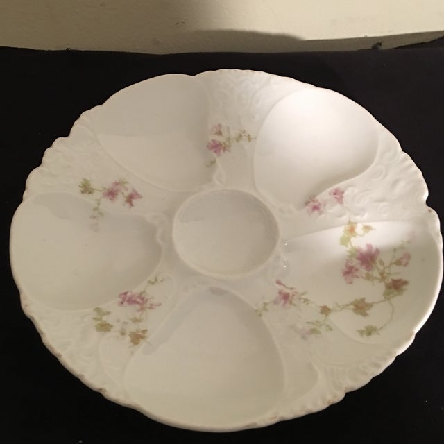 Petite Hand Painted Oyster Plate With Silver Picks - 5 Pc. For Sale - Image 5 of 7
