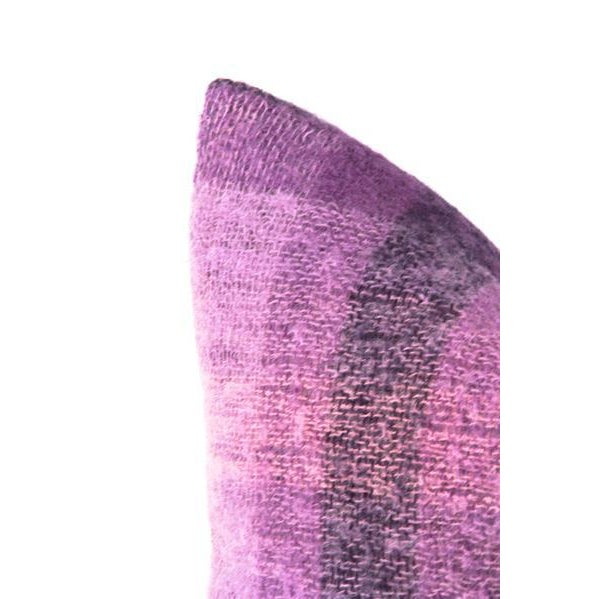 """Purple Plaid Mohair Wool Pillow 22"""" X 22"""" For Sale - Image 4 of 8"""