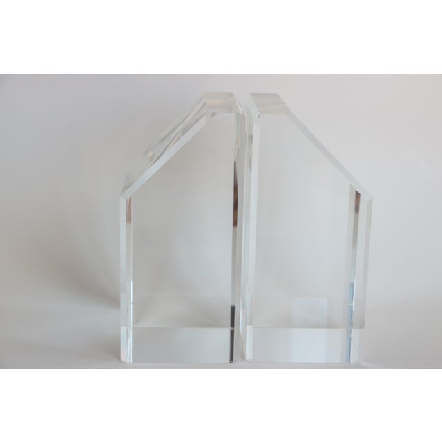Faceted Lucite Bookends - A Pair - Image 8 of 10