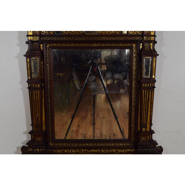 Italian Rosewood and Brass Decorated Wall Mirror For Sale In Atlanta - Image 6 of 11