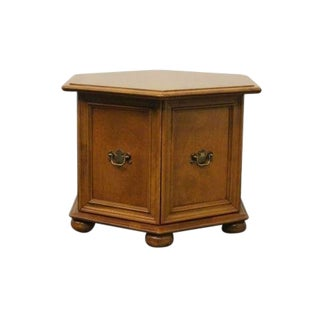 20th Century Traditional Ethan Allen Heirloom Nutmeg Maple Storage End Table For Sale