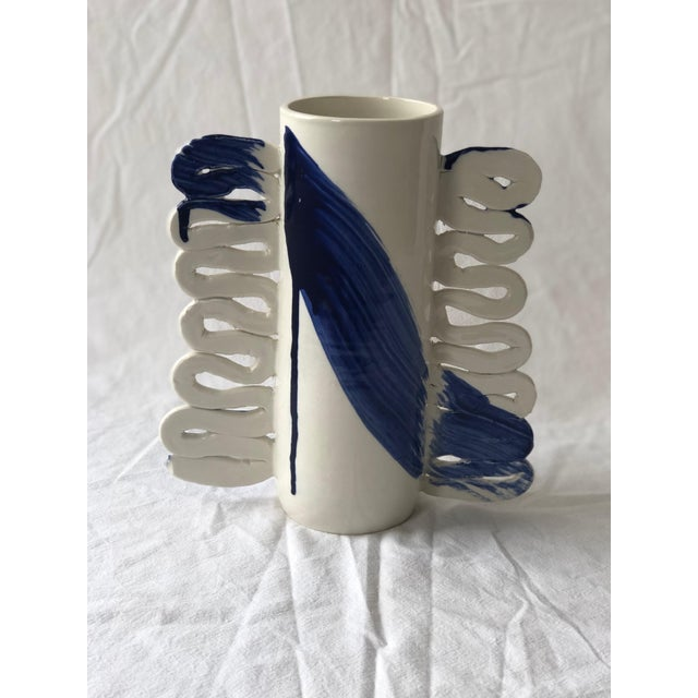 Contemporary Ceramic Squiggle Handle Vessel With Cobalt Calligraphy For Sale In New York - Image 6 of 6