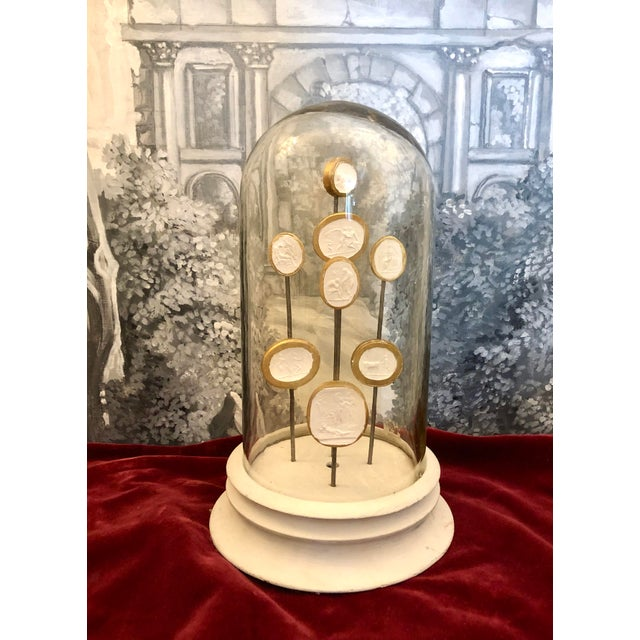 Italian Glass Dome with 8 Grand Tour Intaglios Composition on Stand, C. 1900. White Plaster Intaglio Medallions with Gold...