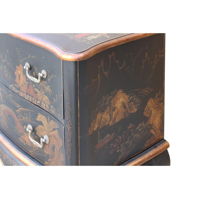 Chinese Oriental Black Gold Lacquer Scenery Graphic Credenza Side Table For Sale - Image 10 of 11