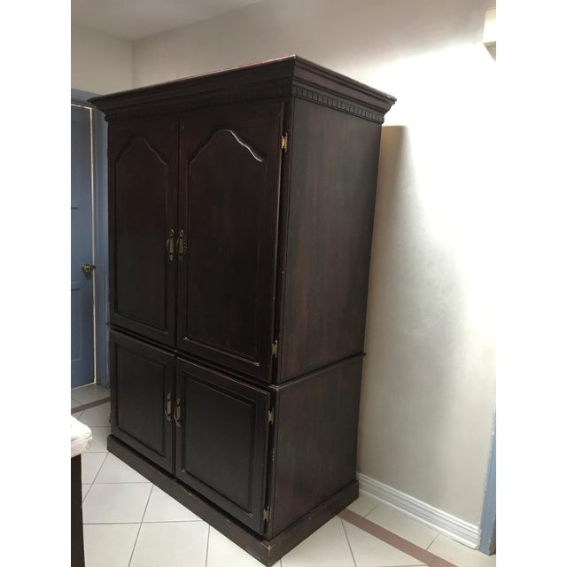 This is the one piece that will do it for you. Self contained office space with pull outs, drawers ,shelving, working...