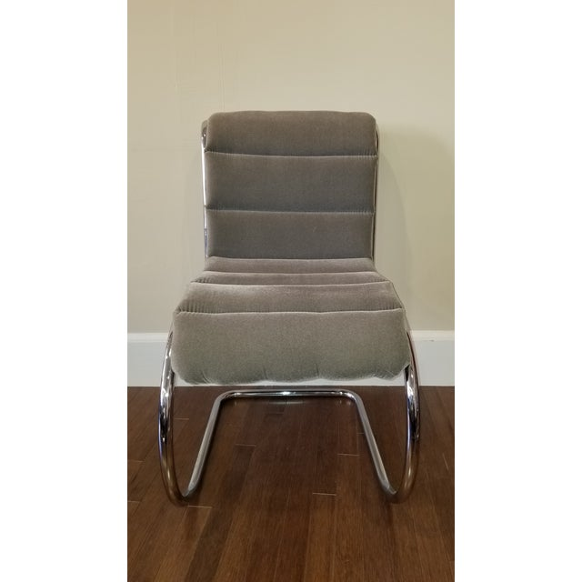 Set of 4 Mies Van Der Rohe MR10 cantilever tubular chrome side chairs with grey velour ribbed cushions. The cushions are...