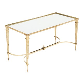 Art Deco Brass and Mirror Coffee Table For Sale