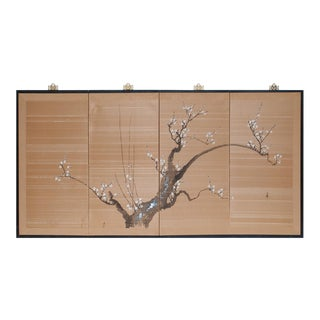 1950s Shōwa Era Japanese Sakura Silk Byobu Screen For Sale