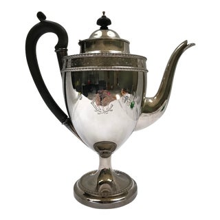 1930s Mid-Century Modern Silver Coffee Urn With Black Handle For Sale