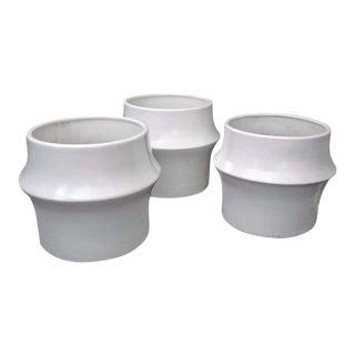 Large Vintage Mid-Century Modern Ceramic Planters - Set of 3 For Sale