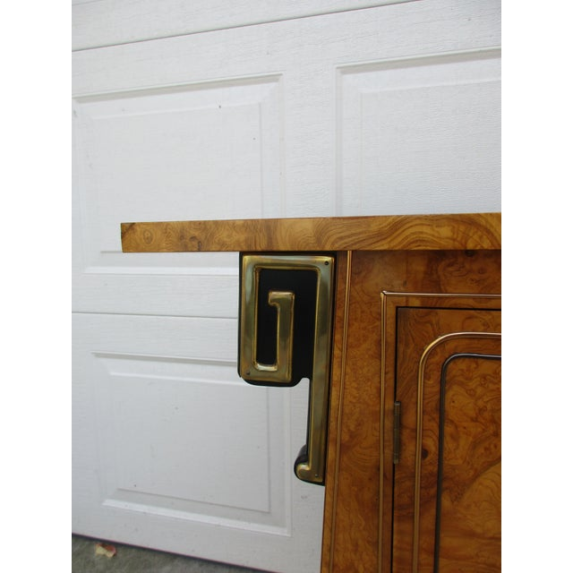 Metal Burlwood and Brass Console Cabinet -Attributed to Mastercraft For Sale - Image 7 of 12
