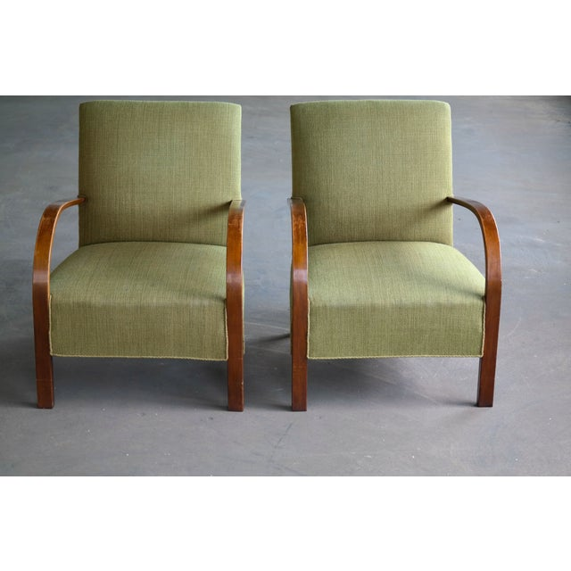 1940s Early Midcentury Danish Art Deco Low Lounge Chairs- A Pair For Sale - Image 5 of 12