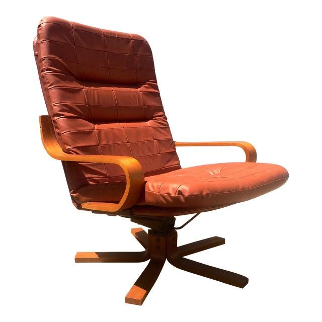 Vintage Teak & Leather Adjustable Lounge Chair - Image 1 of 8