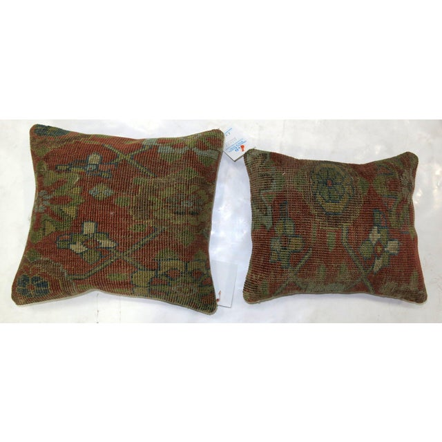 Pillows made from a antique persian rug with cotton back. Zipper closure and foam insert provided. 12'' x 14'' & 14'' x 16''