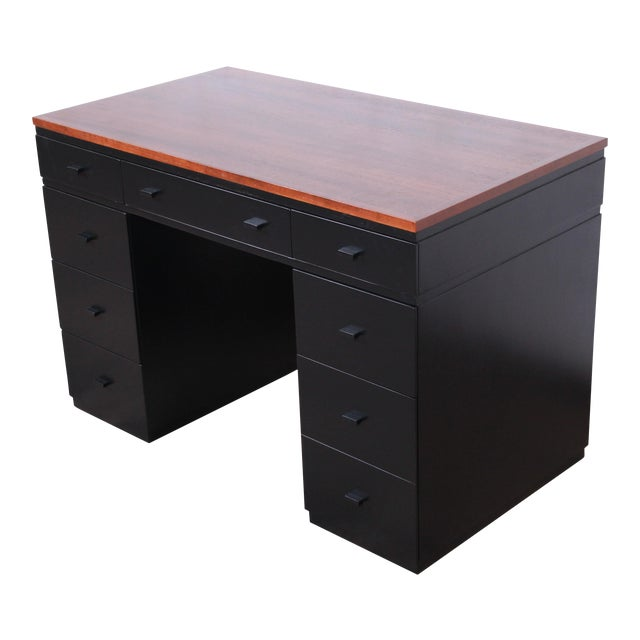 Early Edward Wormley for Dunbar Walnut and Black Lacquered Kneehole Desk, 1940s For Sale