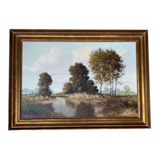 Vintage Landscape Oil Painting of the Countryside by E. Zimmermann, Framed For Sale