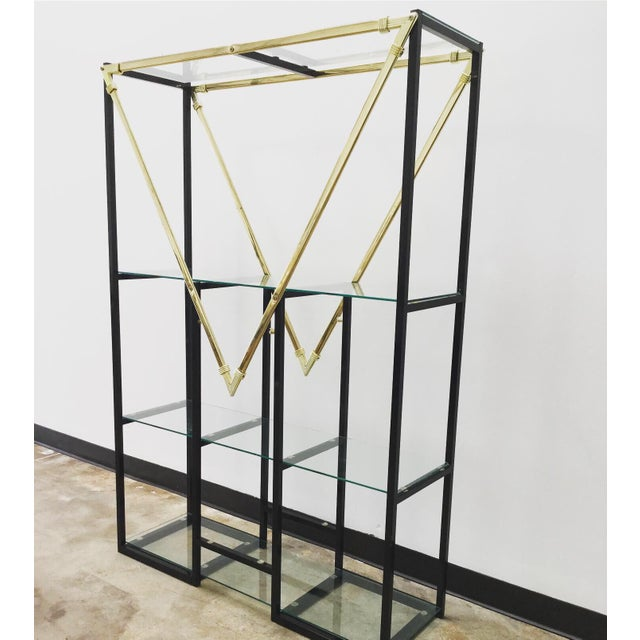 """Vintage triangle """"M"""" geometric etagere. Black & gold coated metal. 4 tiers of shelving at varying heights! The lines and..."""