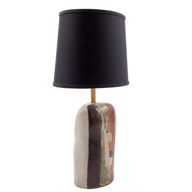 Marianna von Allesch 1950s Vintage Marianna Von Allesch Cubist Ceramic Table Lamp For Sale - Image 4 of 6