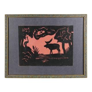 Vintage Folk Art Paper Cut Moose and Goose Silhouette