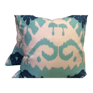 Quadrille Kazak in Blue, Green & White Pillow Covers - a Pair For Sale