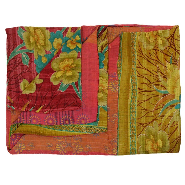 Vintage Kantha Quilt with Bold Tropical Flowers - Image 1 of 2