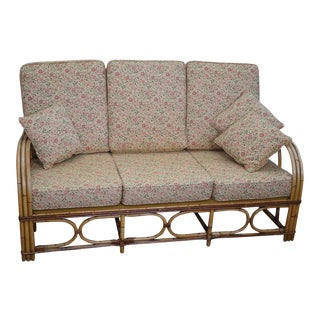 Antique Split Reed Rattan Bamboo Sofa For Sale