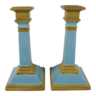 19th C. Wm. Brownfield Staffordshire Majolica Column Candlesticks - a Pair