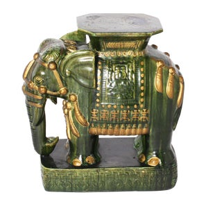 Chinese Parrot Green Elephant Garden Stool, C. 1960 For Sale