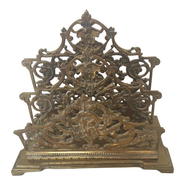 Decorative Brass Ornate Letter Holder For Sale