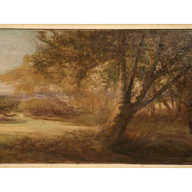 "Amazing 9'8"" Original Antique French Panoramic Oil Painting on Linen - Image 9 of 10"