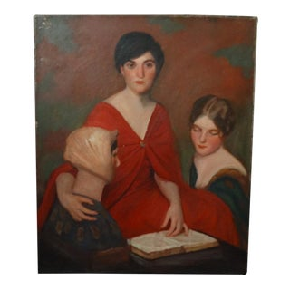 Portrait of Two Women Oil Painting on Canvas For Sale