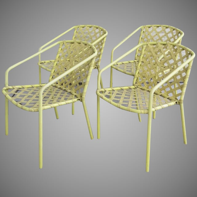 Metal Four (4) Vintage Brown Jordan Yellow Strap Chairs - Set of 4 For Sale - Image 7 of 7