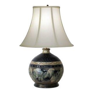 Textured Pottery Lamp For Sale