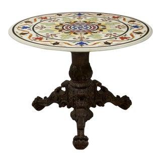 Specimen Pietra Dura Inlaid Marble Center Table For Sale