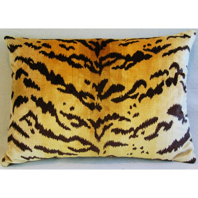 Italian Scalamandre Le Tigre Tiger Stripe & Mohair Pillow - Image 5 of 5