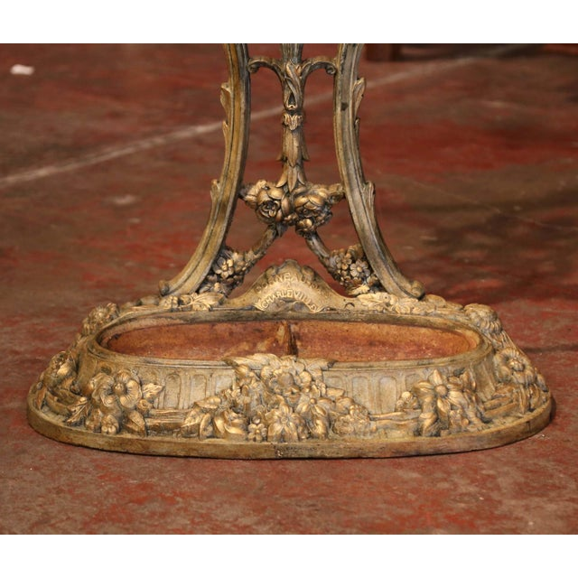 French 19th Century French Painted and Gilt Cast Iron Hall Stand Signed Corneau Freres For Sale - Image 3 of 10