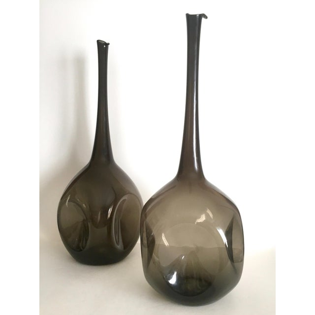 This pair of two vintage Mid Century Modern rare Zeller Art Glass charcoal smoke gray monumental extra large hand blown...