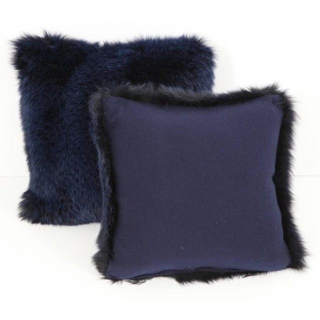 Contemporary Navy Fur Pillows - A Pair For Sale - Image 3 of 4