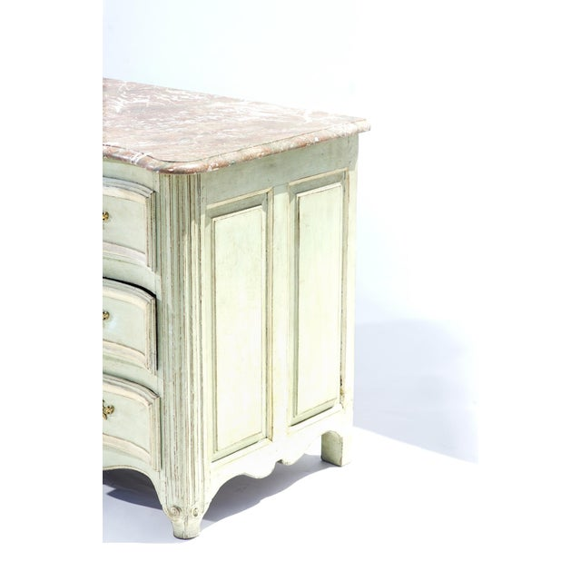 19th C. French Painted Marble Top Commode For Sale - Image 4 of 5