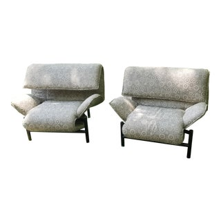 1980's Giovanni Offredi Onda Recliner Saporiti Lounge Chairs For Sale