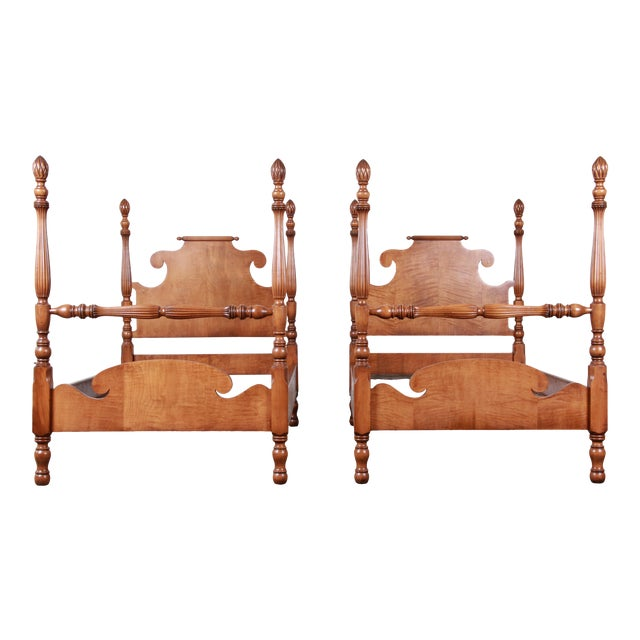 Vintage Tiger Maple Twin Pineapple Poster Beds, Pair For Sale