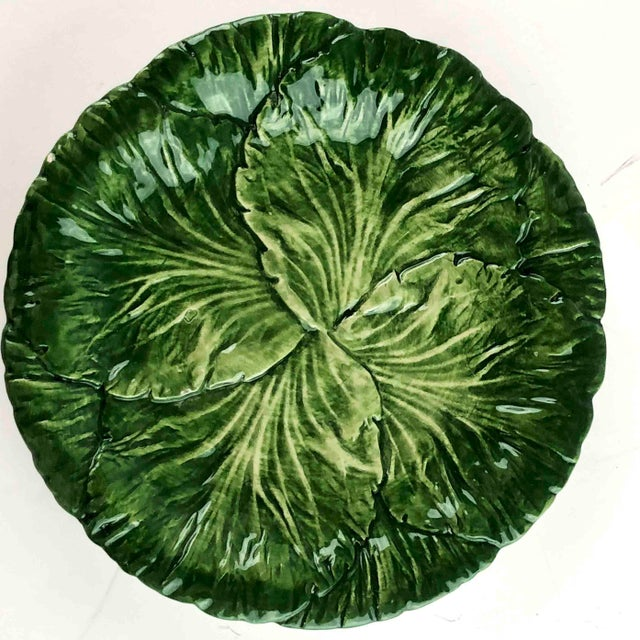 Ceramic Vintage Vietri Italy Lettuce Leaf Plates – Set of 6 For Sale - Image 7 of 12