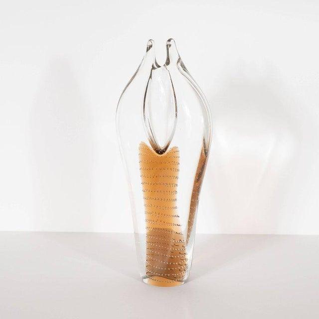 1960s Mid-Century Modern Handblown Smoked Honey & Translucent Glass Vase by Beranek For Sale - Image 5 of 9