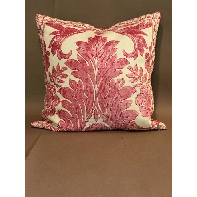 """On the grand scale, a pillow in the Scalamandre Linen Print """"Luciana Damask"""" in raspberry, pink & cream. Hand blocked 100%..."""