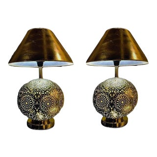 Silver Brass Filigree Moroccan Table Lamps With Bottom & Upper Lights - a Pair For Sale