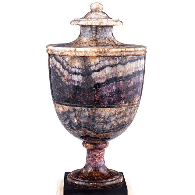 Neoclassical Blue John Covered Urn For Sale - Image 3 of 5